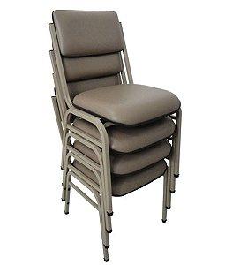 Kit com 4 Cadeiras Empilháveis Auditórios Linha Hotel Smart Cinza