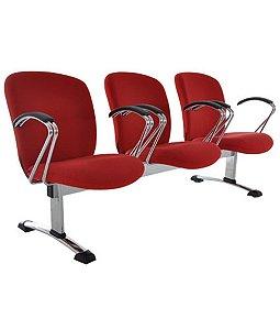 Cadeira Diretor em longarina com 3 lugares  Linha Lombar Vermelho