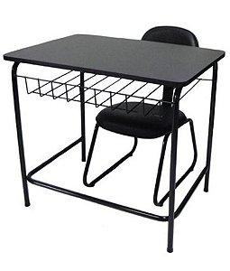 Mesa Escolar com cadeira de Escritório Linha Mesa Escolar Preto