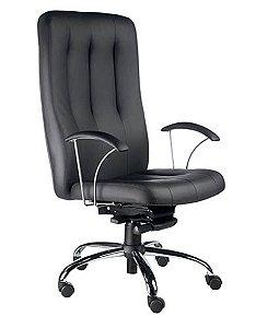 Cadeira Presidente Base Cromada Linha Paris Preto