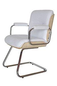 Cadeira Eames Diretor Base Fixa Linha Capa em Madeira Branco