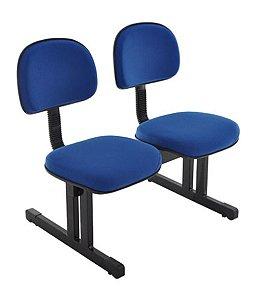 Cadeira Secretária em longarina com 2 lugares Linha Robust Azul