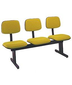 Cadeira Secretária em longarina com 3 lugares Linha Square Amarelo