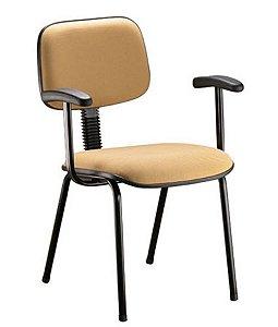 Cadeira Secretária Fixa Palito com Braços Linha Square Cor Amarelo