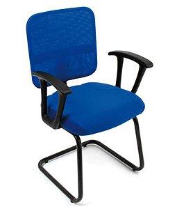 Cadeira Secretária Base Fixa em S Linha Tela Mesh Azul