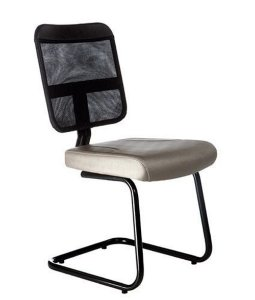 Cadeira Secretária Base Fixa em S Linha Tela Mesh Bege