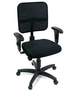 Cadeira Secretária com Braços Linha Tela Mesh Preto