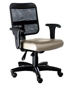 Cadeira Secretária com Braços Linha Tela Mesh Bege