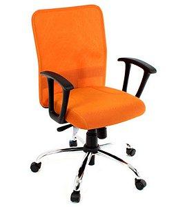 Cadeira Diretor com Braços Linha Tela Mesh Laranja