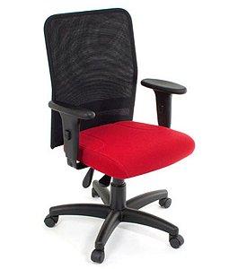 Cadeira Digitador  com Braços Linha Tela Mesh Vermelho