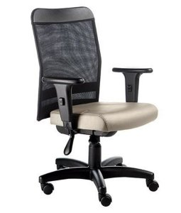 Cadeira Digitador  com Braços Linha Tela Mesh Bege