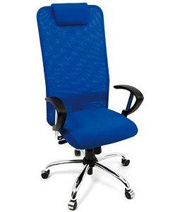 Cadeira Presidente com apoio de cabeça Linha Tela Mesh Azul