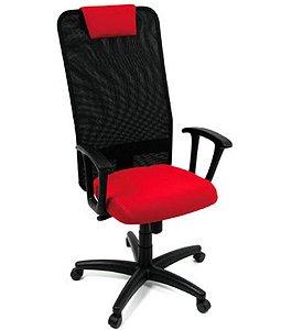 Cadeira Presidente com apoio de cabeça Linha Tela Mesh Vermelho