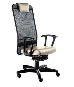 Cadeira Presidente com apoio de cabeça Linha Tela Mesh Bege