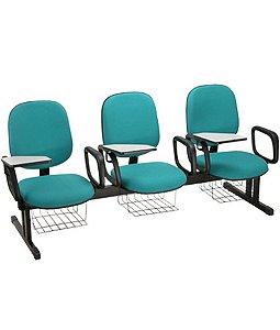Cadeira Universitária Diretor em longarina Linha Uno Azul