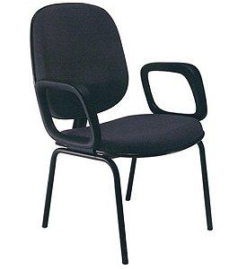 Cadeira Diretor com Braços Base Fixa com 4 pés Linha Uno Preto