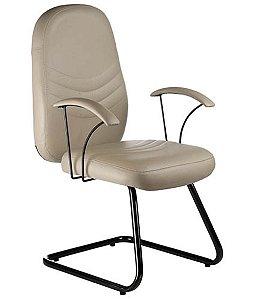 Cadeira Diretor fixa em S com Braços  Linha Veneza Bege