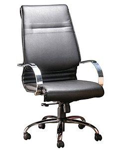 Cadeira Presidente Luxuosa com Braços Cromados Linha Chief Preto