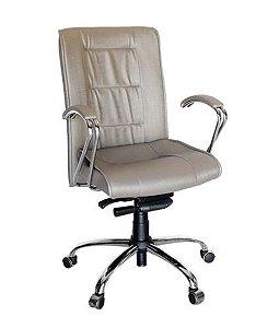 Cadeira Presidente Base Cromada Linha Vicenza Bege