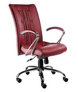 Cadeira Presidente Base Cromada Linha Vicenza Vermelho