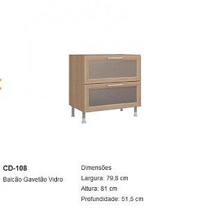 CD-108 BALCAO ASPEN C/GAVETAO VIDRO 80 512 800MM