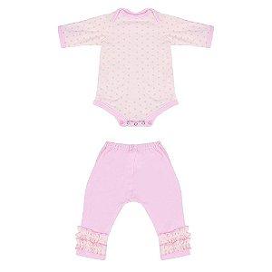 Roupa Para Boneca Bebê Reborn Coelho Com Bolinha Rosa