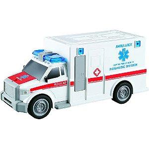 Carro de Ambulância  com luz e som 1:20