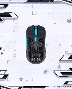 (ENCOMENDA) Mouse G-Wolves Hati S HTS Stardust 49g Ultra Lightweight Honeycomb Design Wired Gaming Mouse up to 16000 DPI - 3389 Performance Sensor - (Black)