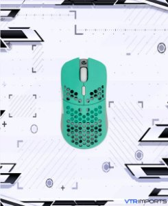 Mouse G-Wolves Hati HTM Ultra Lightweight Honeycomb Design Wired Gaming Mouse 3360 Sensor - PTFE Skates - 6 Buttons - Only 61G (Aqua)