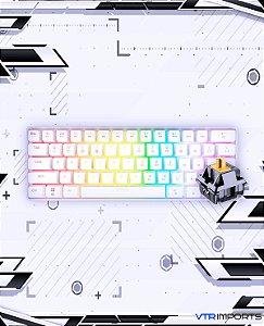 (Envio em até 15 dias úteis) Teclado Mecânico GK61 60% RGB White Switch Gateron Yellow