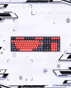 Keycaps Black and Red PBT 104 Teclas (Teclado Full-Size)