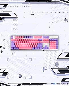 Keycaps Pink and Purple PBT 104 Teclas (Teclado Full-Size)