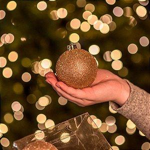 Bola Natalina Glitter Dourado