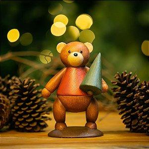 Urso Natalino com Pinheiro de Natal Resina Erzgebirge