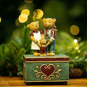Caixa de Música a Corda Família Urso Resina