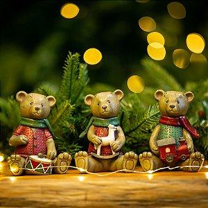 Conjunto de 3 Ursos Natalinos Resina Teddy's