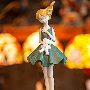 Bailarina Coelhinho Vestido Verde Resina