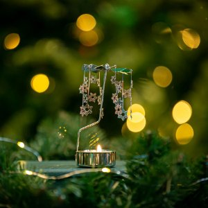 Girandola Flocos Prateada Christmas
