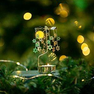 Girandola Flocos Dourada Christmas
