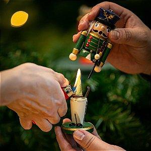 Quebra-Nozes Porta Incenso Verde Madeira