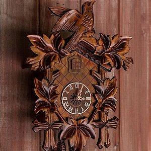Relógio Cuco Mecânico Diário 5 Folhas e Pássaro