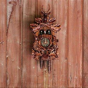 Relógio Cuco Mecânico Diário Tradicional Cervo e Grupo de Dança