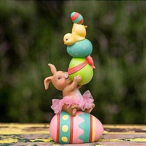 Coelha Glória Equilibrista de Ovos Resina Candy&Funny
