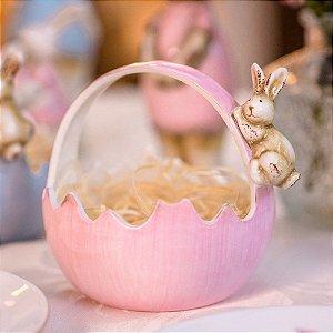 Cesto Casca de Ovo Pink Cerâmica Home