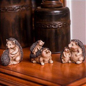 Família de Ouriços Felizes Resina Elegance-me Conjunto c/ 3