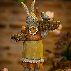Coelha Wilma com Banho de Pássaros Resina Farm