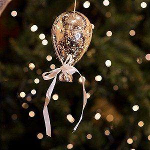 Balão Espelhado Prata Mini Cristal