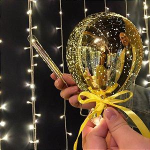 Balão Espelhado Amarelo Cristal