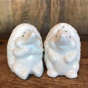 Saleiro e Pimenteiro Ouriços Cerâmica