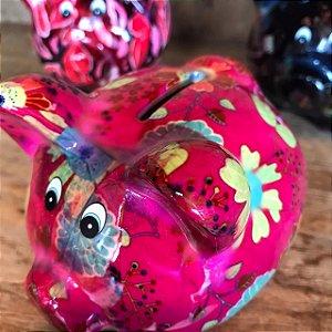 Cofrinho PIG Flowers Pink Cerâmica